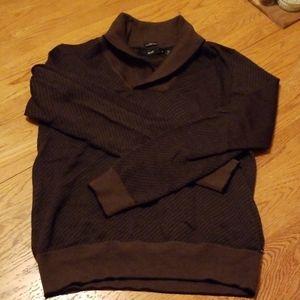 Hugo Boss M Sweater Dark Brown Purple Merino Wool